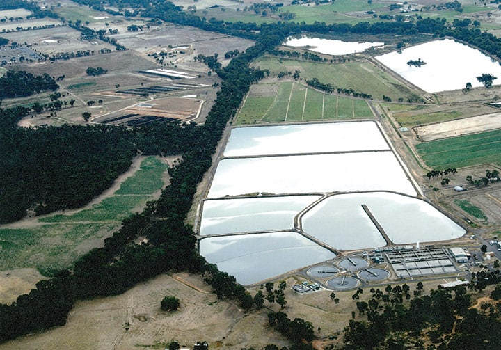 Aerial view of the Bendigo water reclamation plant.